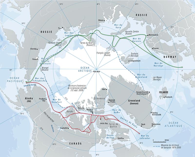 Carte de l'Arctique en projection polaire